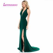 LEIYINXIANG 2019 Prom Dress Nuevo Vestido de Noche Largo Piso Longitud La Sirena Que Rebordea Lentejuelas V-Neck Sleeveless