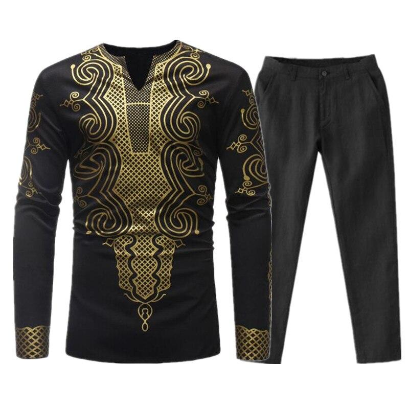 Hommes ensembles africain Dashiki vêtements coton printemps survêtement de sport mâle col en V t-shirt pantalon africain hommes Bazin Riche Costume Costume