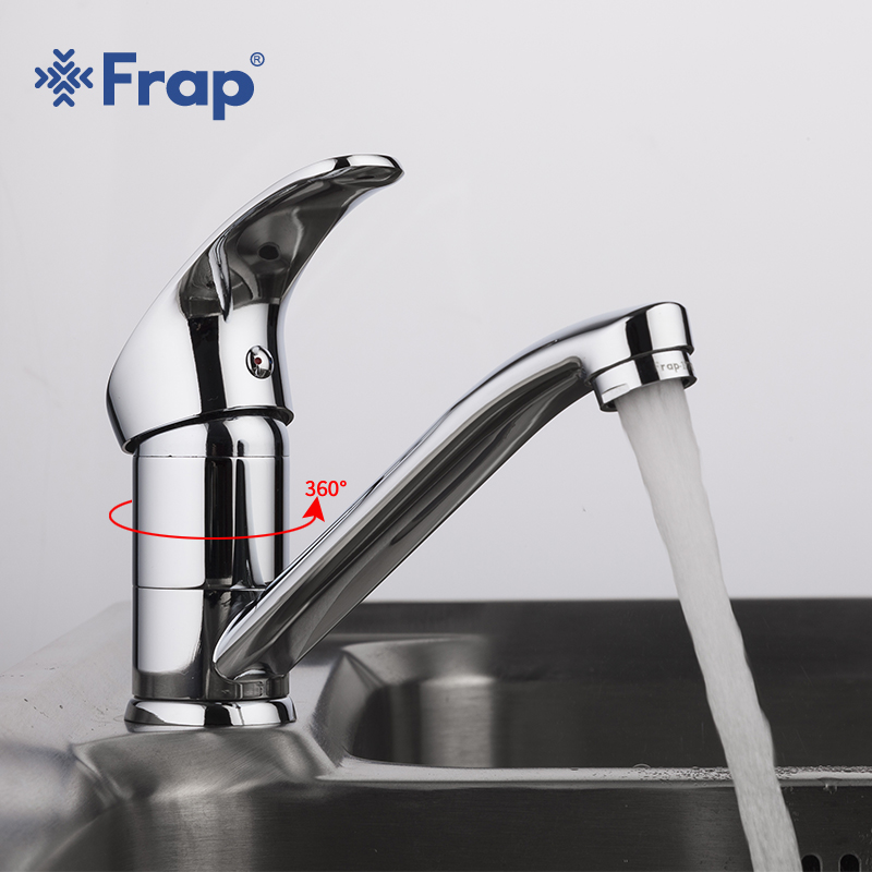Frap New Arrival Kitchen Faucet Chrome Brass Single Handle 360 Degree Rotation Hot and Cold Water Classic Kitchen Sink Tap цены онлайн