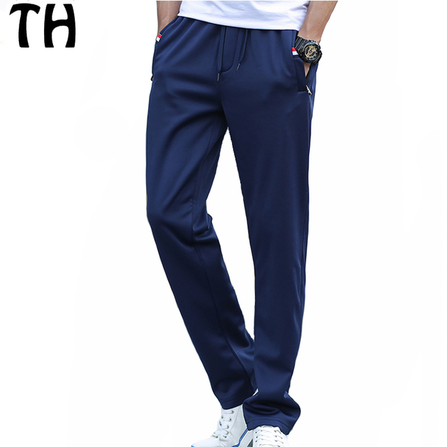 Primavera Otoño Pantalones Casuales Hombres Mediados de Cintura Elástica Suave de Punto Pantalones Deportivos #161847