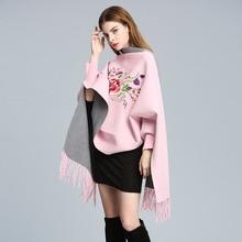 Зимний женский шарф, большие размеры, зимние шарфы, длинная шаль, толстая, теплая, с кисточками, с вышитыми цветами, пончо, с принтом, женский шарф, накидка