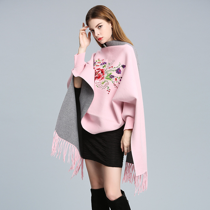 Winter Women   Scarf   Oversize Winter   Scarves   Long   Wrap   Shawl Thick Warm Tassels Embroider Flower Poncho Print Women's   Scarf   Cape