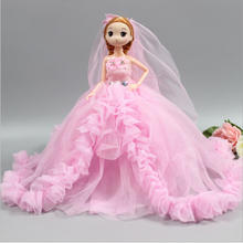 Fashion Baby Doll Wedding Trailing Dress + Dolls Toys Beautiful DIY Party Dress For Baby Doll Toys For Children Best Gift Toys(China)