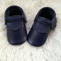 Dark Blue Baby Shoes, Real Leather Baby Moccs, Infant Baby Shoe
