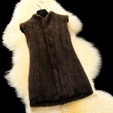 Fur Story 16208 New Arrival Classical Style Women's Knitted Mink Fur