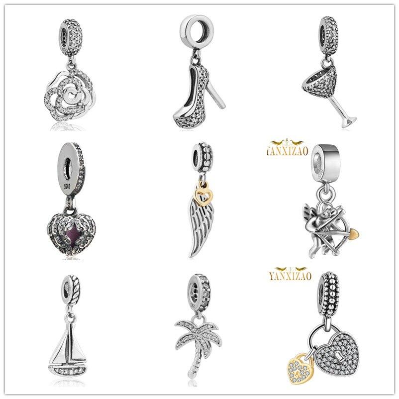 hot Silver European CZ Charm Beads Fit Pandora Style Náramek Přívěsek Náhrdelník DIY Šperky Originály