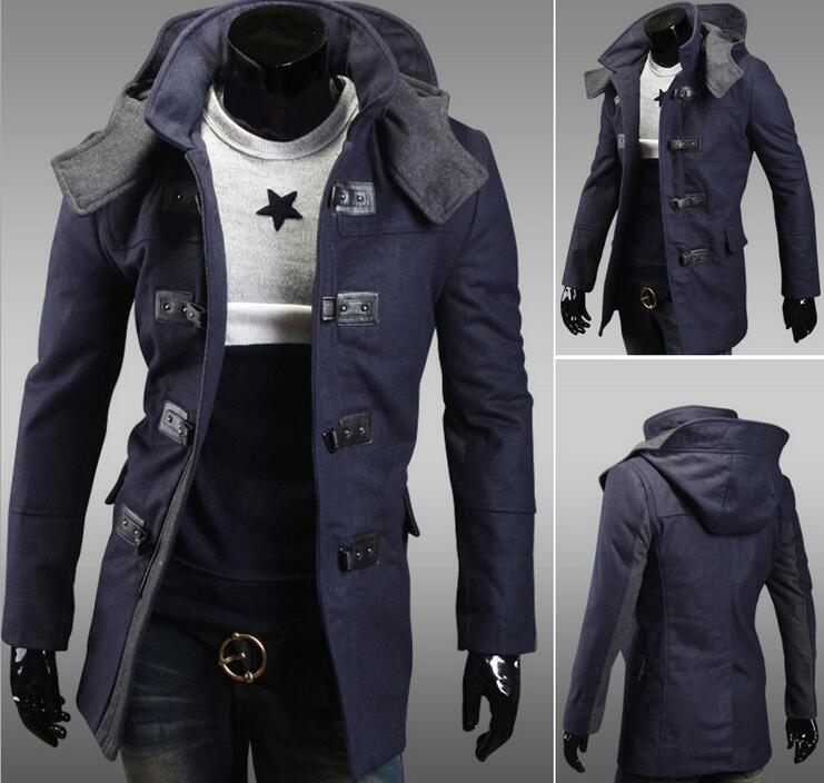 fffd2648a435 Mens Jacket Warm Winter Long Trench Coat Slim Fashion Casual Smart Button