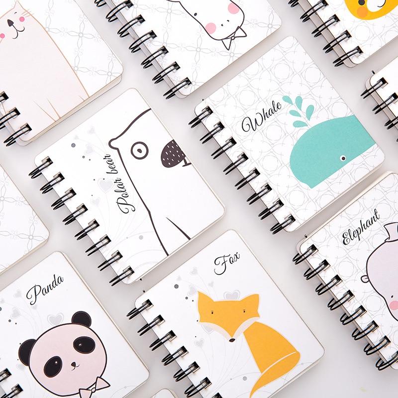 10.4x8.5cm Small Mini Cute Animal Dog Cat Hippo Penguin Panda Notebook For Women Student Paper Notepad Kawaii School Stationery