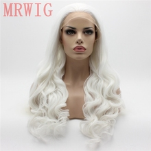 MRWIG  26in  Long Body Wavy Glueless White Hair Color Free Part Synthetic Lace Front Wig Cosplay Party цена 2017