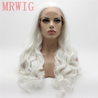 MRWIG 26in Long Body Wavy Glueless White Hair Color Free Part Synthetic Lace Front Wig Cosplay Party