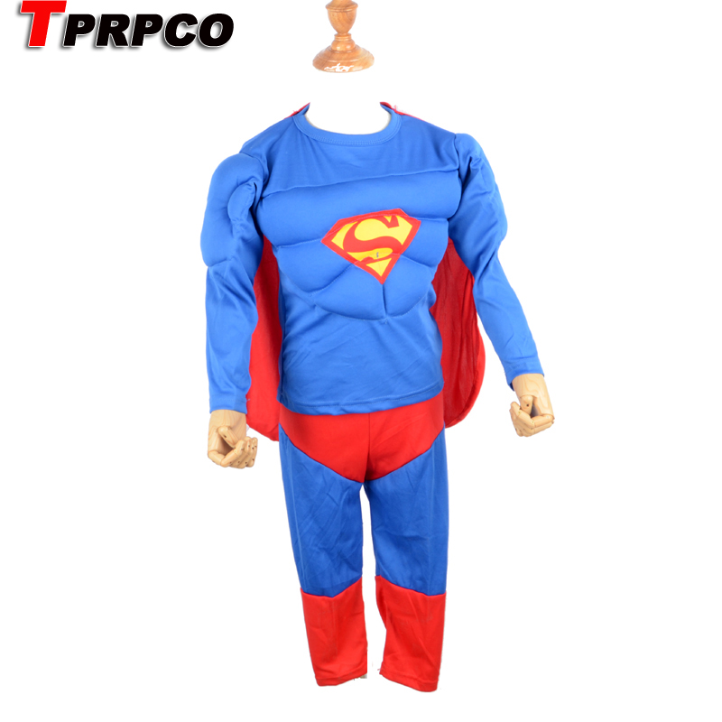 4-8 Years Kids S-xxl Muscle Superman Costume Children Boy Girl Halloween Costume The Spiderman Masquerade Party Clohing Marvel Home