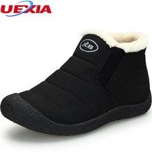Novas Mulheres Botas de Neve de Inverno Quente Botas Mujer Fur & Plush Anti-skid Tornozelo Botas Sapatos Das Senhoras Das Mulheres de Inverno Dedo Do Pé Redondo preto Femininas