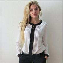 Plus Size 2016 Women Blouses Fashion Elegent V-Neck Chiffon Shirt Long Sleeve Patchwork Casual Blouse Women Clothing 4 Colors