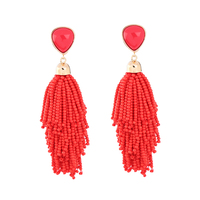 2 Color Pink&Red Tassel Line Big Statement Earrings Boho Ethnic Style Long Pendant Earrings Fashion India Earrings Jewelry