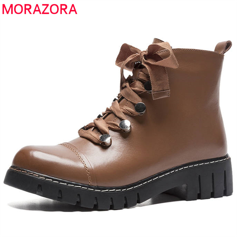MORAZORA 2018 fashion hot sale new ankle boots top quality genuine leather boots women zipper lace up punk platform shoes woman morazora 2018 new arrival genuine leather ankle boots for women lace up zipper autumn boots fashion punk shoes woman black