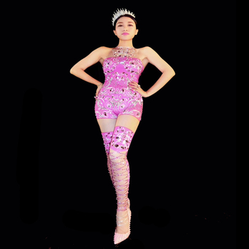Women New Pink Rhinestone Sexy Jumpsuit Stretch Costume Crystals Stone Sparkling Bodysuit Singer Dance Performance Party Wear