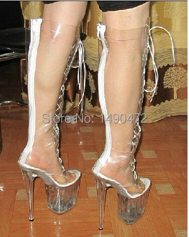 extreme hi heel women sexy ultra 20cm high heels clear pvc knee high boots summer zipper at back. Black Bedroom Furniture Sets. Home Design Ideas