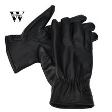 Mannen Mode Warme Kasjmier PU Leather Man Winter Handschoenen Rijden Waterdichte Zwarte Handschoen Juni 17(China)