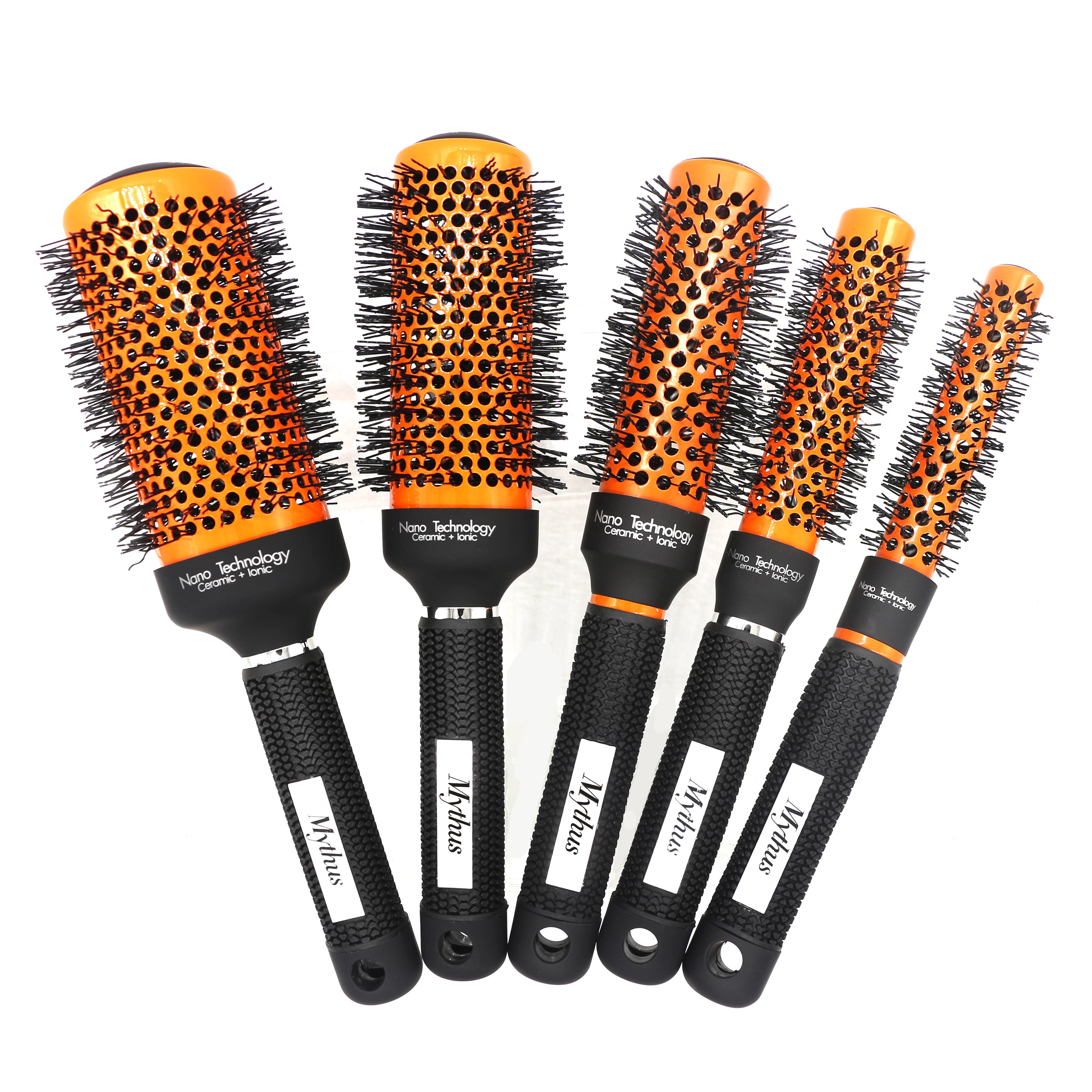Mythus Orange Hairdressing Round Ceramic Brush 5 Sizes Salon Hairstyling Comb For Hair Curls Ionic Hair Brush Do Not Damage Hair