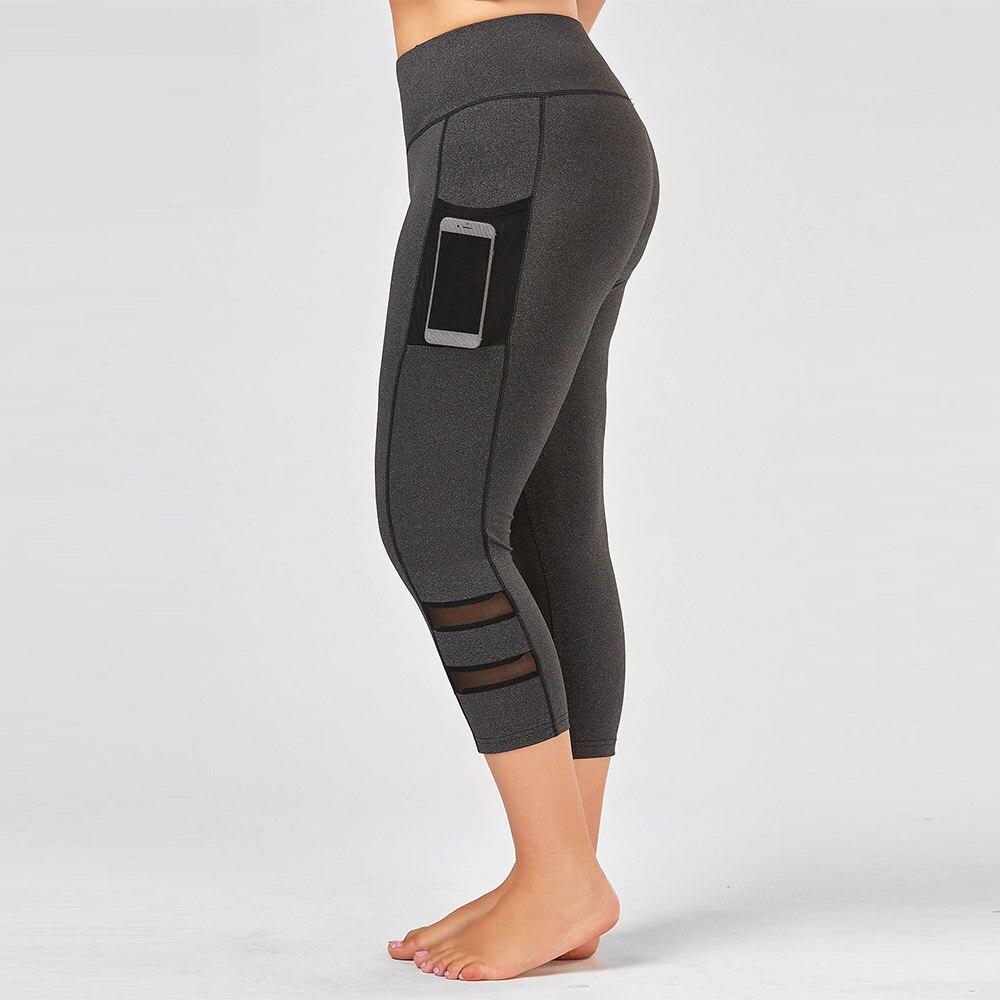 Rosegal Plus Size Women   Leggings   Summer Fishnet Mesh Panel Fitness   Leggings   High Elastic Waist Hollow Out Cropped trousers