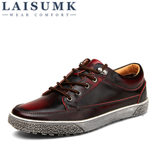 LAISUMK High Quality Hot Sale Men Vintage Genuine Leather Shoes Washing Distressed Men'S Fashion Flats Lace Up Casual Footwear цена