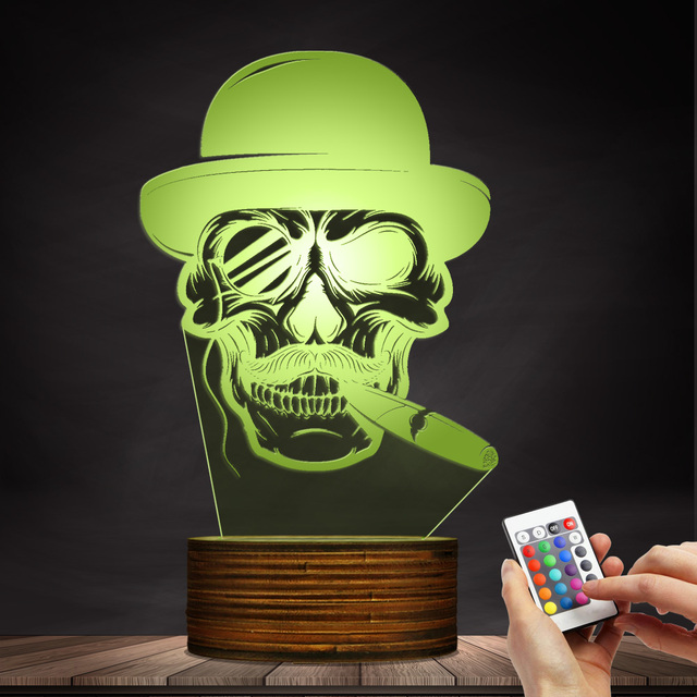 3D LED LAMP SKULL IN HAT WITH CIGAR