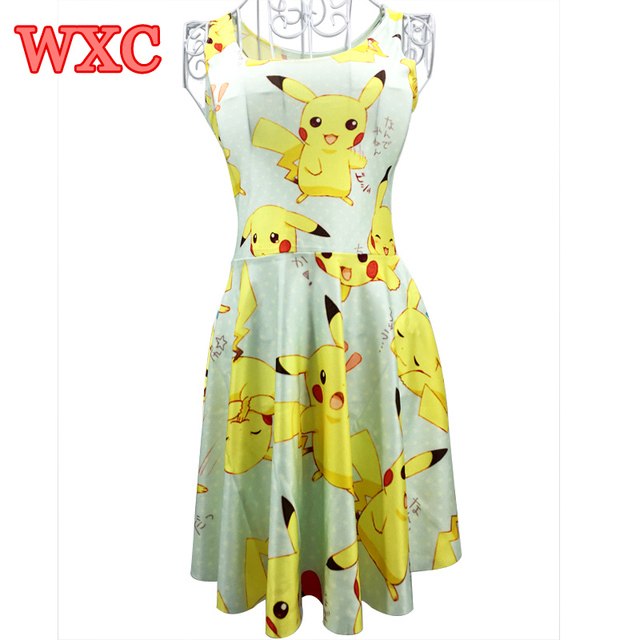 0a88364df046f A Line Dress Pikachu Girls Sweet Kawaii Dresses Anime Yellow Cartoon Casaul Summer  Skater Dress Cute WXC