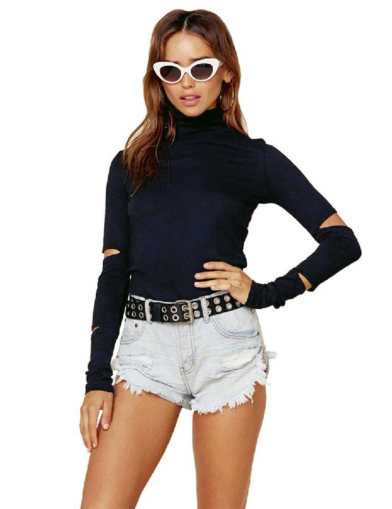 73da95205df MISSKY Для женщин модные топы с длинными рукавами тонкий отверстие Стиль  уникальный с высоким воротником футболка