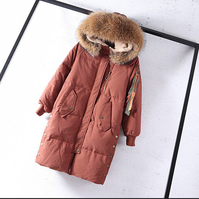 Winter Jacket Women Large Real Natural Raccoon Fur 2019 White Duck   Down   Jacket Thick Warm Loose Parkas Women Winter   Coat