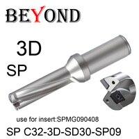 Além do bocado de broca 3d 30mm sp C32-3D-SD30-SP09 u uso de perfuração inserir spmg spmg090408 inserções de carboneto indexável ferramentas torno cnc