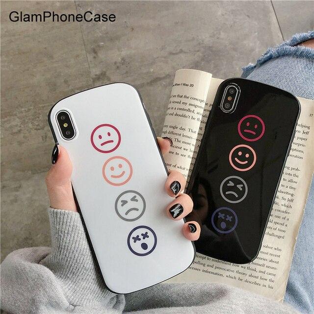 GlamPhoneCase Simples Smiley Face da Caixa Do Telefone Para o iphone X XS Max XR Macio TPU Capa Para iphone 4 7 8 6 funda 6 s Mais Caso Coque