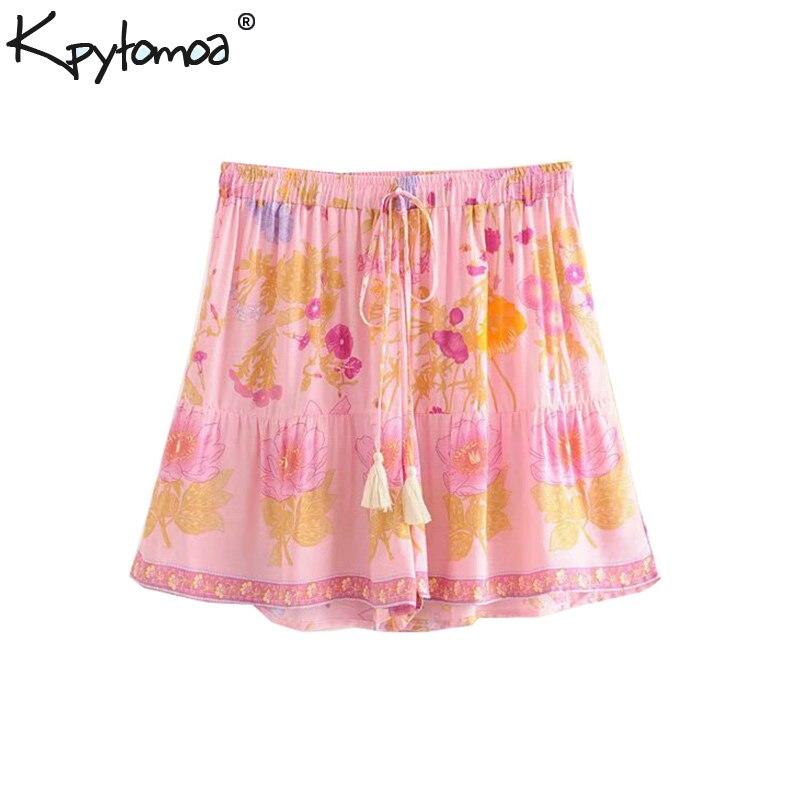 Boho Chic Summer Vintage Floral Print Shorts Women 2019 Fashion Elastic Waist Drawstring Tassel Beach Style Short Pants Pantalon