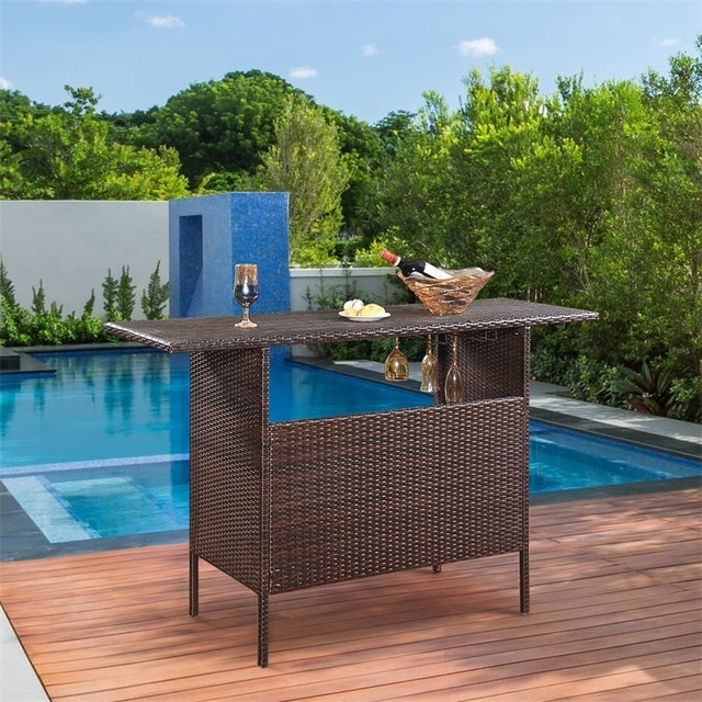 Outdoor Patio Rattan Bar Table 4