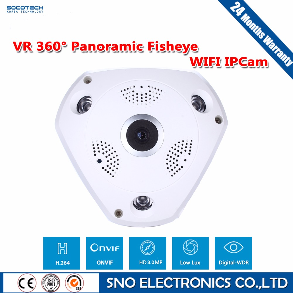 SOCOTECH 3.0MP 360 Degree Fisheye Panoramic Wifi Wireless P2P Network IP Camera Array Led Home Security System For IOS Android erasmart hd 960p p2p network wireless 360 panoramic fisheye digital zoom camera white
