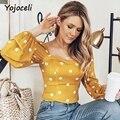 Yojocel chic Romantic Square neck dot <font><b>blouses</b></font> <font><b>shirt</b></font> women bodcyon lantern sleeve female blusas streetwear women <font><b>blouses</b></font>