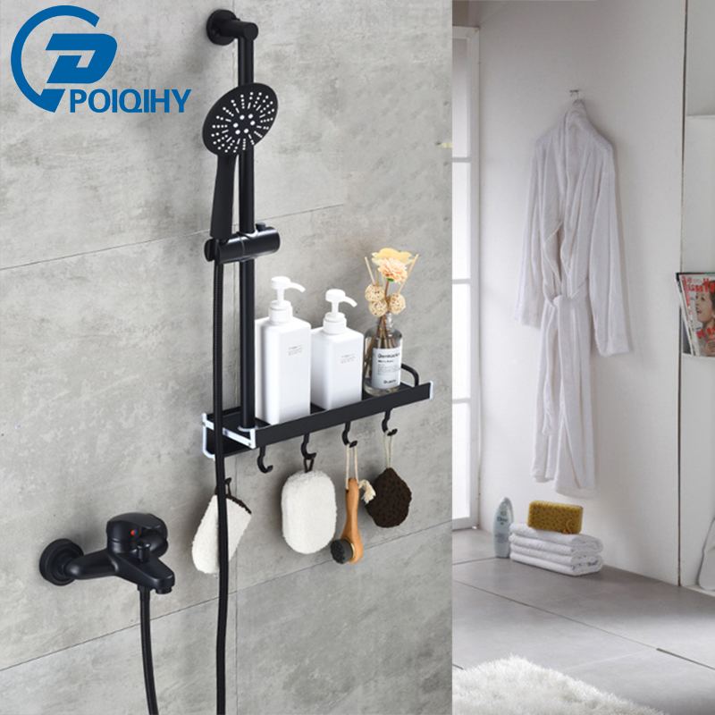 High Quality Bathroom Shower Faucet With Shelf Hook Hand Shower Set Deck Mounted zebra print shower curtain 1pc with hook 12pcs