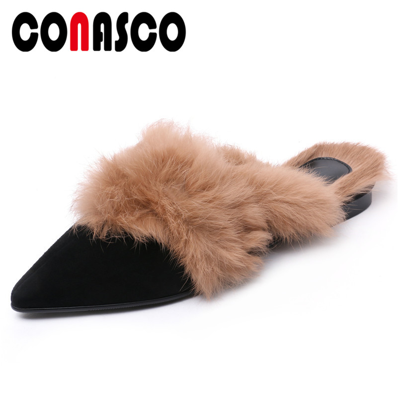CONASCO New Brand Women Flats Heels Casual Shoes Woman Fur Party Wedding Shoes Sexy Pointed Toe Mules Shoes Ladies Warm FlatsCONASCO New Brand Women Flats Heels Casual Shoes Woman Fur Party Wedding Shoes Sexy Pointed Toe Mules Shoes Ladies Warm Flats