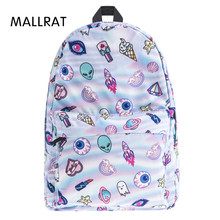 MALLRAT cute patch holo 3D school bags for teenager Print Fashion mochila masculina casual bookbag backpacks rugzak sac a dos