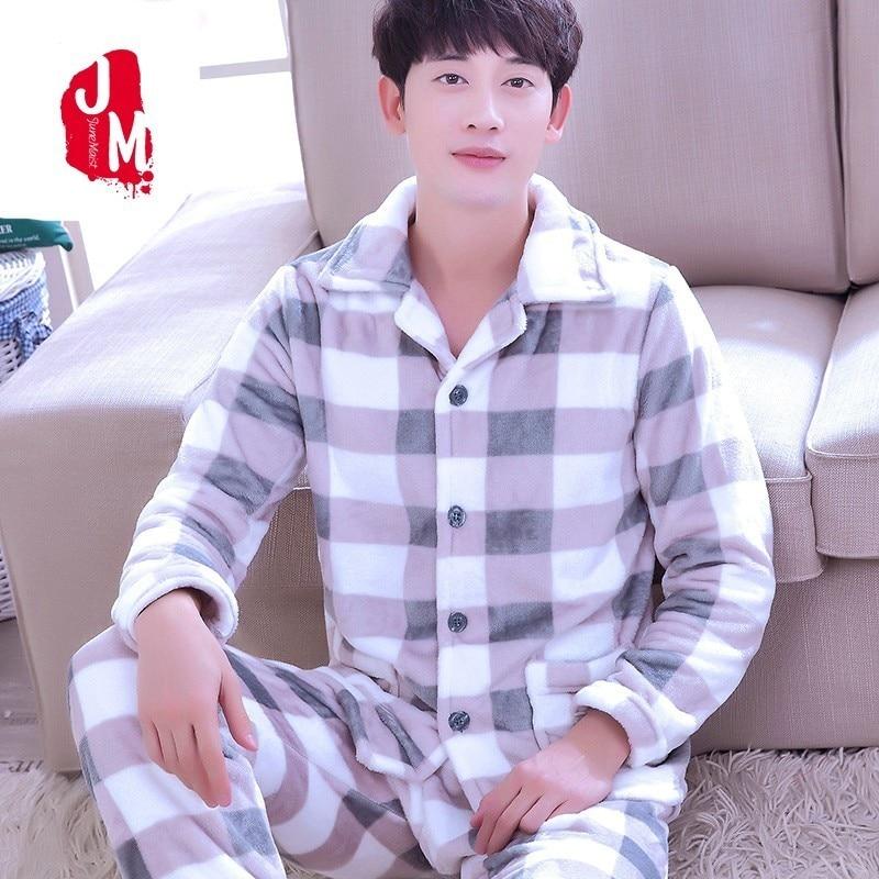 2018 Men Pajama Sets Winter Coral Fleece Thick Warm Men Sleepwear Suits Long Sleeve Autumn Plaid Man Homewear Pyjamas Male XXXL