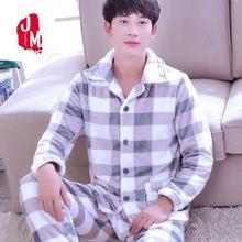 11d6b055e4 2018 Men Pajama Sets Winter Coral Fleece Thick Warm Men Sleepwear Suits Long  Sleeve Autumn Plaid Man Homewear Pyjamas Male XXXL