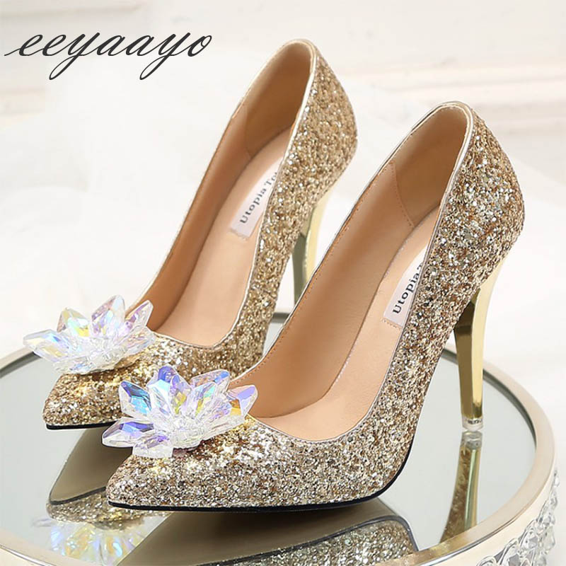 Spring/Autumn Women Pumps High Thin Heel Pointed Toe Bling Bridal Wedding Shoes Sexy Women Rhinestone Shoes Gold High Heels cinderella high heels crystal wedding shoes 14cm thin heel rhinestone bridal shoes round toe formal occasion prom shoes