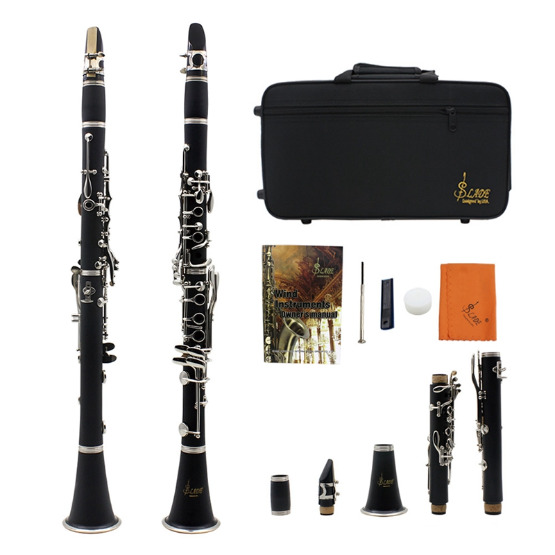 17-Key Clarinet Reed-Case Instrum SLADE ABS Bb Flat With Cleaning-Cloth-Gloves Screwdriver
