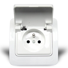 French Standard Wall Power Outlet Splash Socket With Cover Waterproof OA810FC