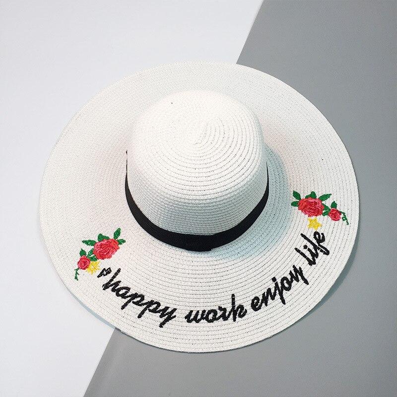 HT1091 New Fashion Matahari Musim Panas Perempuan Topi Besar Bertepi Lebar  Wanita Topi Jerami Floppy Topi Solid Bunga Surat Wanita Pantai Hat di Topi  ... 37793e6313