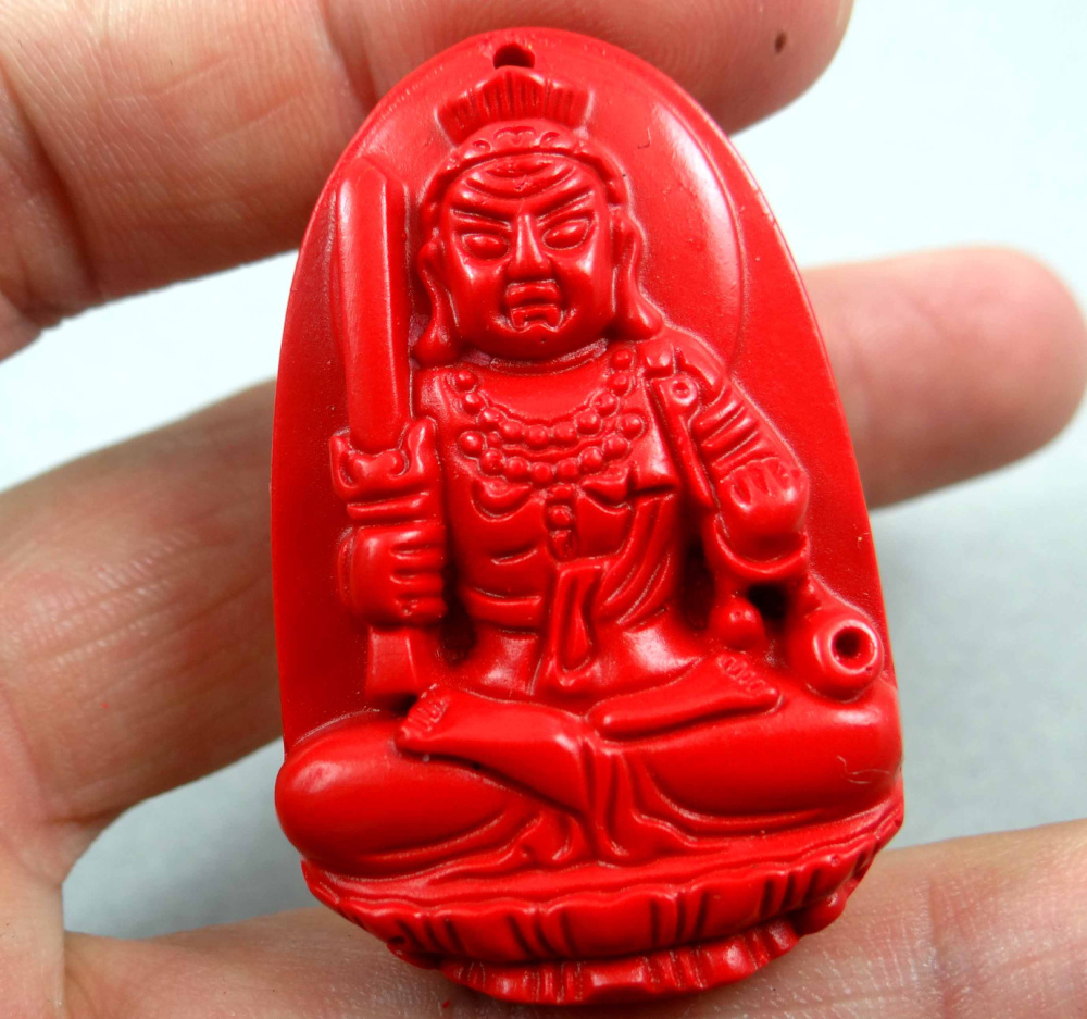 45*30mm Free Shipping Chinese Red Organic Cinnabar Pendant Necklace Patron Saint Hand-carve