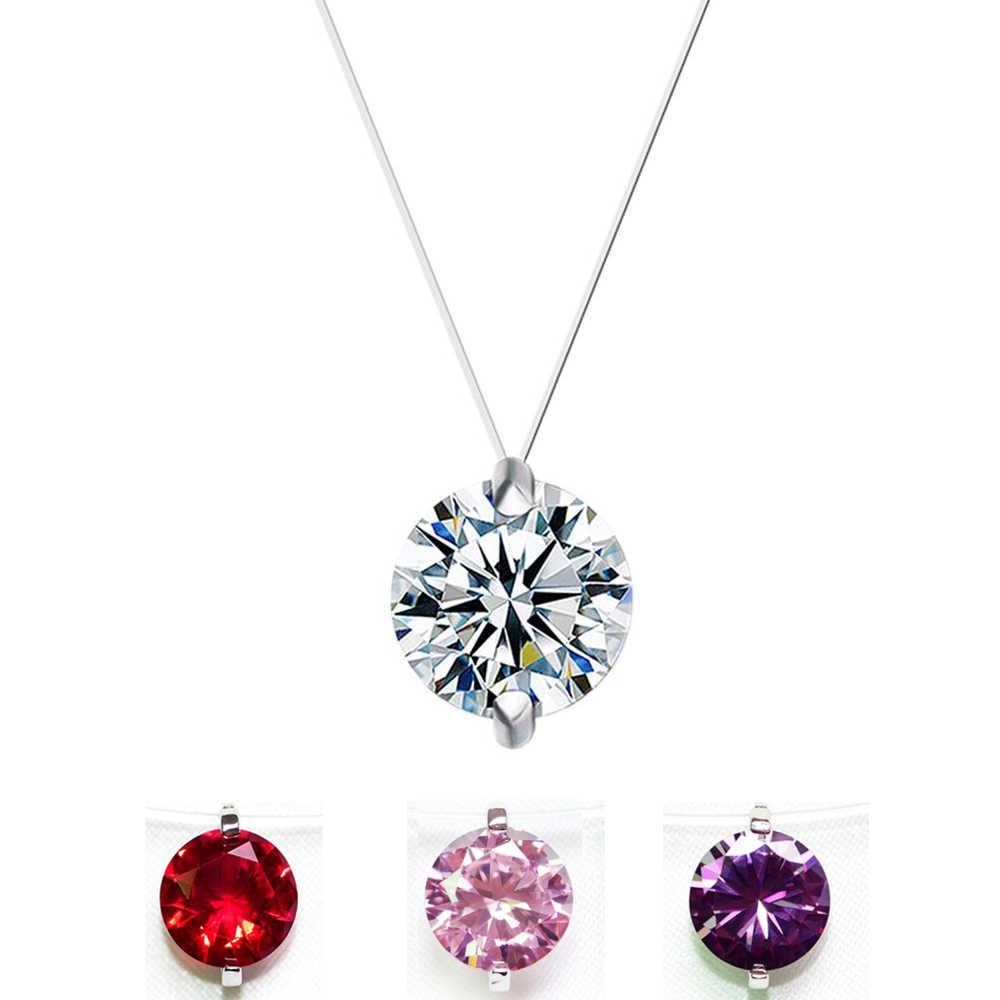 선물 8 색 6MM 핑크 화이트 레드 지르콘 Chokers 목걸이 투명 낚시 라인 여성을위한 간단한 펜던트 목걸이 쥬얼리
