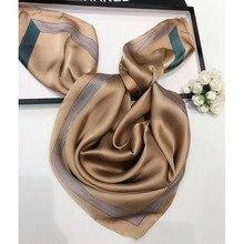 Plain women silk polyester striped border square scarf head scarf kerchief size 75x75cm Foulard Bandana LL180429 multi striped bandana