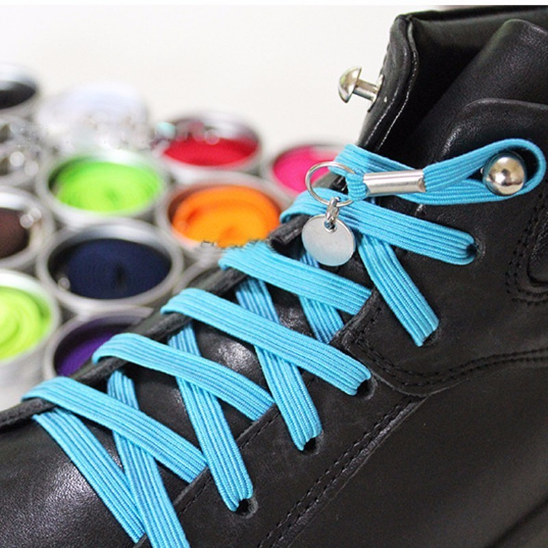 1 Pair One Hand No Tie Laziness Shoelaces Metal Circle Elastic Laces Beamy