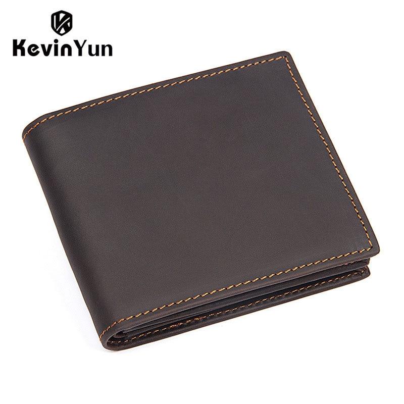 KEVIN YUN vintage men wallets genuine leather short design male pocket wallet zipper coin purse