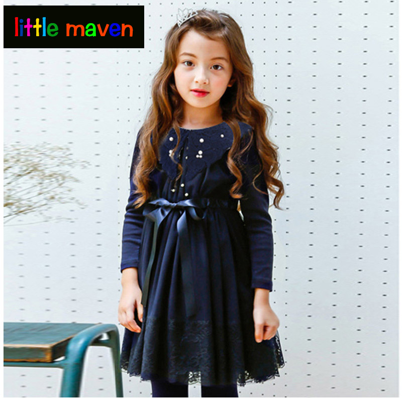 Girls Evening Dress 2017 Autumn Baby Girl Lace Pearl Party Dress Long Sleeved Princess Tutu Dresses Kids Costume Children hot sale new autumn children straight dress baby girls dresses kids striped knee length long sleeved princess casual dress party